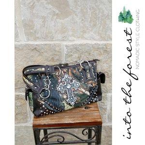 Handbags - Camo Studded Shoulder Bag with Rhinestone Cross